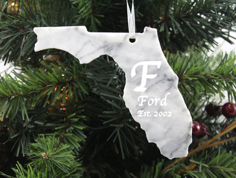 Florida Marble Christmas Ornament