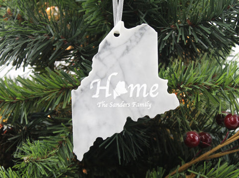 Maine Marble Christmas Ornament