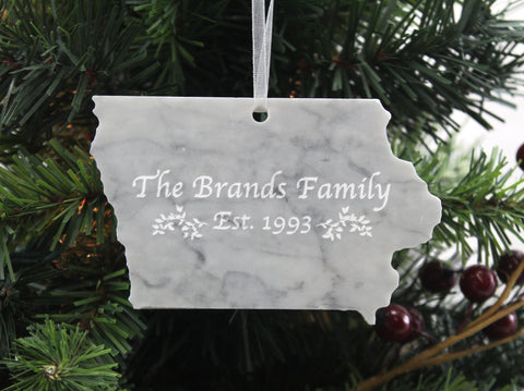 Iowa Marble Christmas Ornament