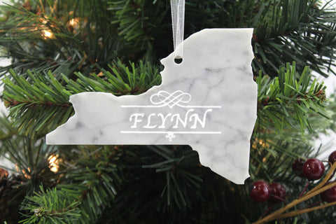 New York Marble Christmas Ornament