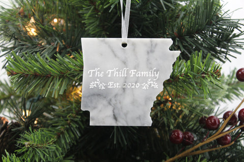 Arkansas Marble Christmas Ornament