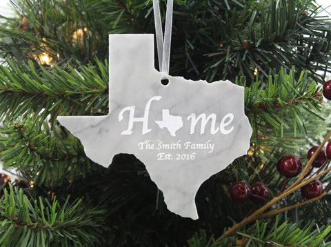 Texas Marble Christmas Ornament