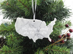 United States White Marble Christmas Ornament