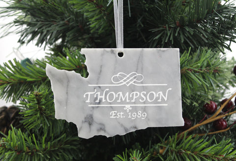 Washington White marble christmas ornament