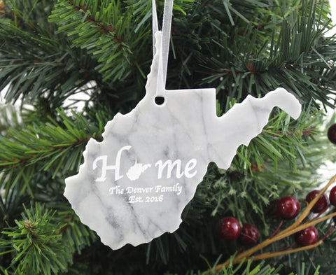 West Virginia Marble Ornament