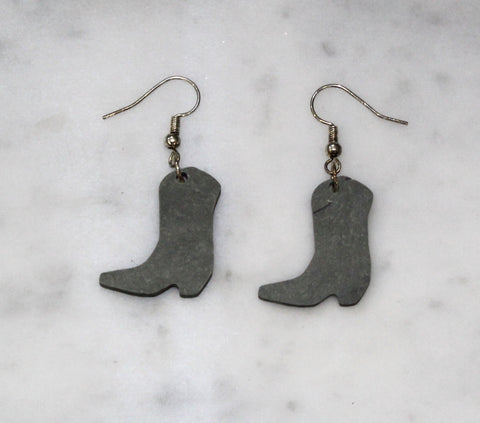 Cowboy boot slate earrings