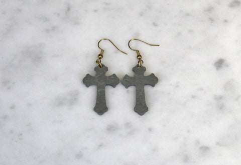 Cross slate earrings