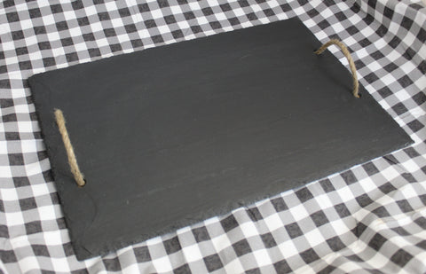 Rectangle Slate Cheese Board With Rope Handles