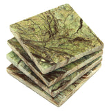 Square Rainforest Green Marble Coaster
