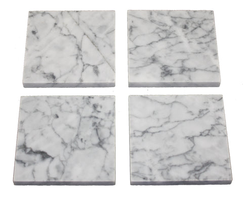 Set of 4 Statuary Capri Marble Coasters