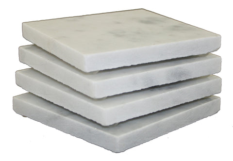 Square Carrara White Marble Coaster