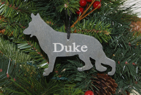 German Shepard Slate Christmas Ornament- Personalized with Laser Engraving