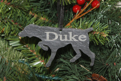 German Shorthaired Pointer Slate Christmas Ornament- Personalized Memorial for your Pet