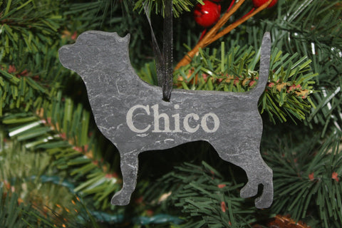 Chihuahua Slate Christmas Ornament- Personalized Memorial for your Pet