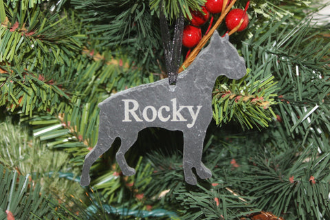 Boxer Slate Christmas Ornament