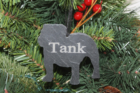 English Bulldog Slate Christmas Ornament