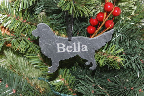 Golden Retriever Slate Christmas Ornament- Personalized with Laser Engraving