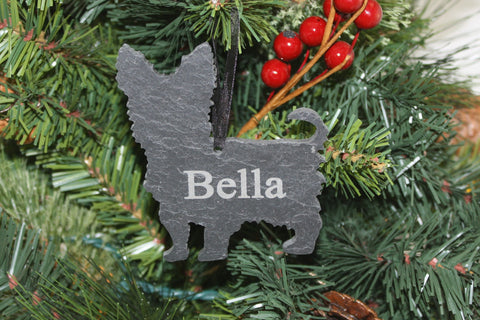 Yorkshire Terrier Slate Christmas Ornament