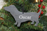 Dachshund Slate Christmas Ornament