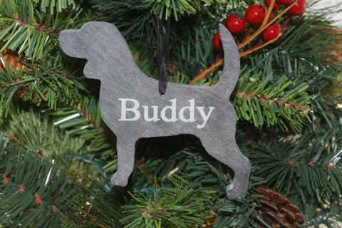 Beagle Slate Christmas Ornament- Personalized Memorial for your Pet