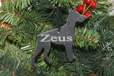 Doberman Pinscher Slate Christmas Ornament