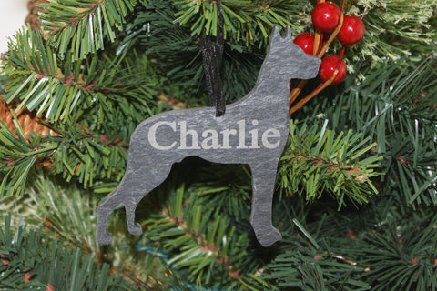 Great Dane Slate Christmas Ornament- Personalized with Laser Engraving