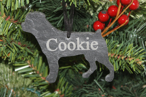 Rottweiler Slate Christmas Ornament- Personalized Memorial for your Pet