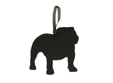 English Bulldog Slate Christmas Ornament- Personalized with Laser Engraving