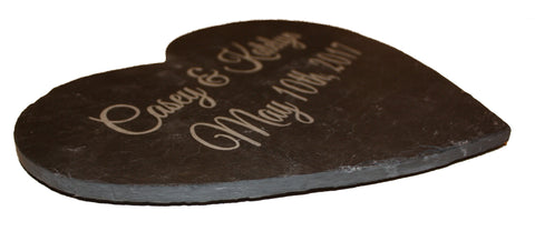 Slate Heart Cheese Board Personalized with Valentines, Wedding, or Anniversary Engraving