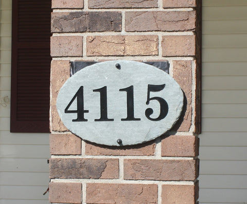 Oval Carved Slate House Number Sign with Pole and Light- Numbers Only