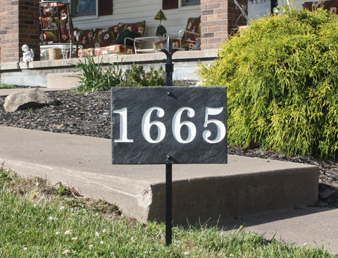Rectangle Carved Slate House Number Sign with Pole and Light- Numbers Only