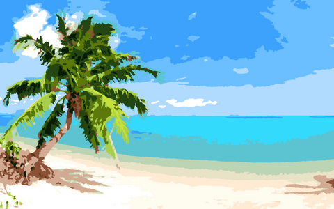 Tropical Beach Paint by Number- Slate