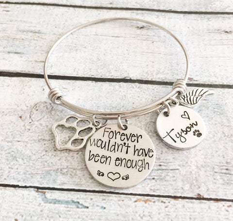 Pet loss- Hand stamped dog bangle - Pet memorial