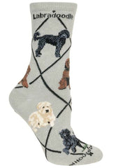 Labradoodle Dog Gray Cotton Ladies Socks Shoe Size(6-81/2) Sock Size(9-11)