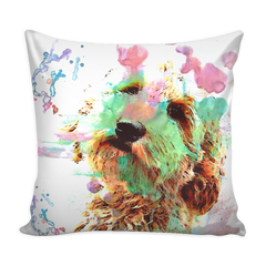 Watercolor Doodle Puppy Pillow with Insert