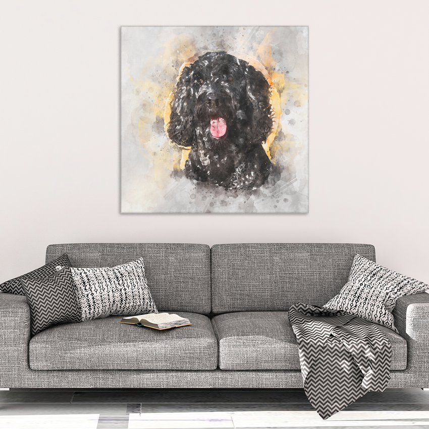 Black Labradoodle Goldendoodle Watercolor Wall Canvas