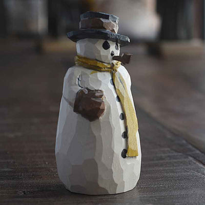 Snowman With Pipe Carving