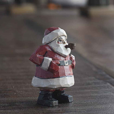 Santa With Pipe Carving
