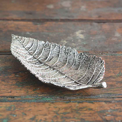 Elm Leaf Antique Pewter Tray