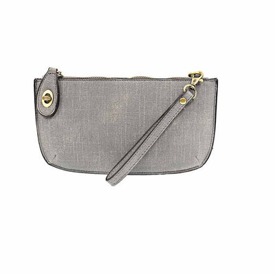Faux Linen Crossbody Clutch - Gray