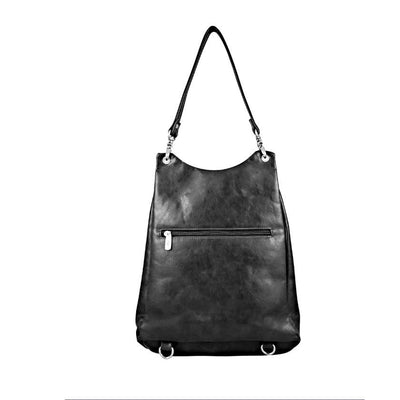 Vegan Leather Backpack Handbag - Grey