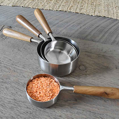 Teak & Stainless Steel Measuring Cups