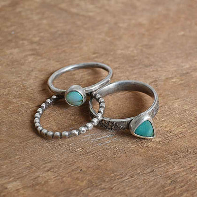Opal and Turquoise Stacker Rings