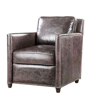 Leather Club Chair in Smoke