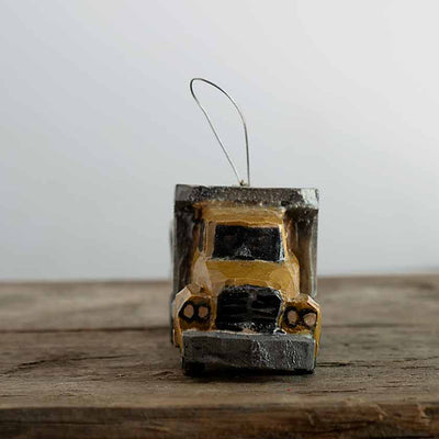 Hand Carved Dump Truck Ornament