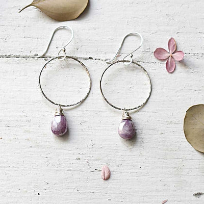 Pink Corundum Circle Earrings