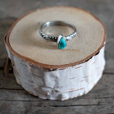 Petite Pear Royston Turquoise  Ring