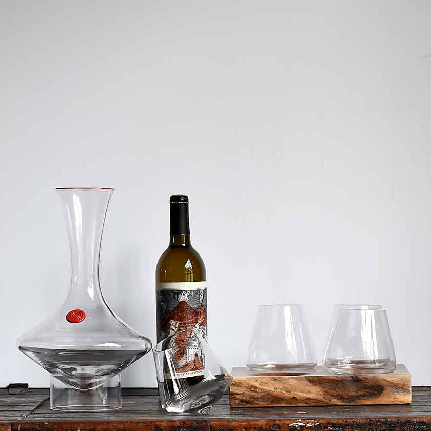 Hand-blown rolling wine decanter by Tsuga Studio