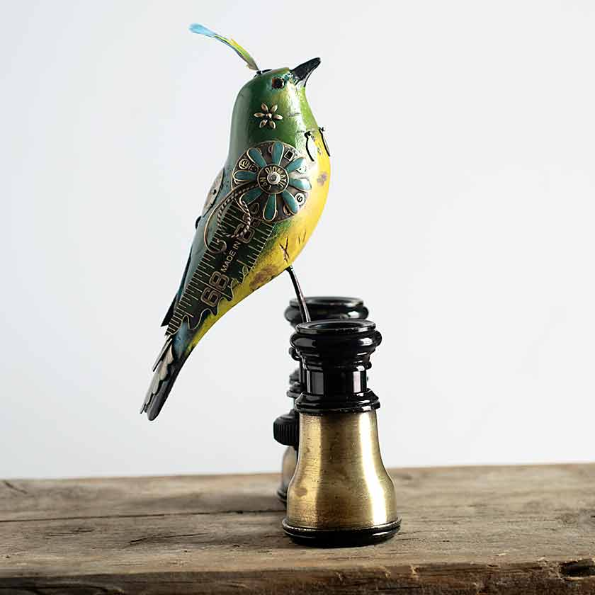 Mixed Media Bird Sculpture - Binoculars II