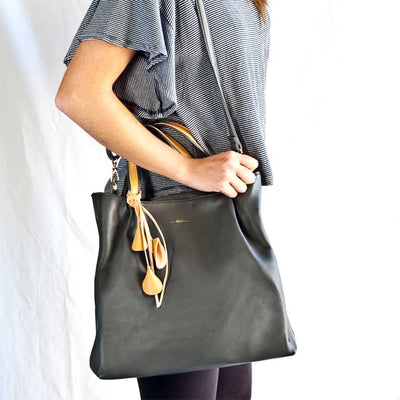 Divine Vegan Leather Handbag - Black